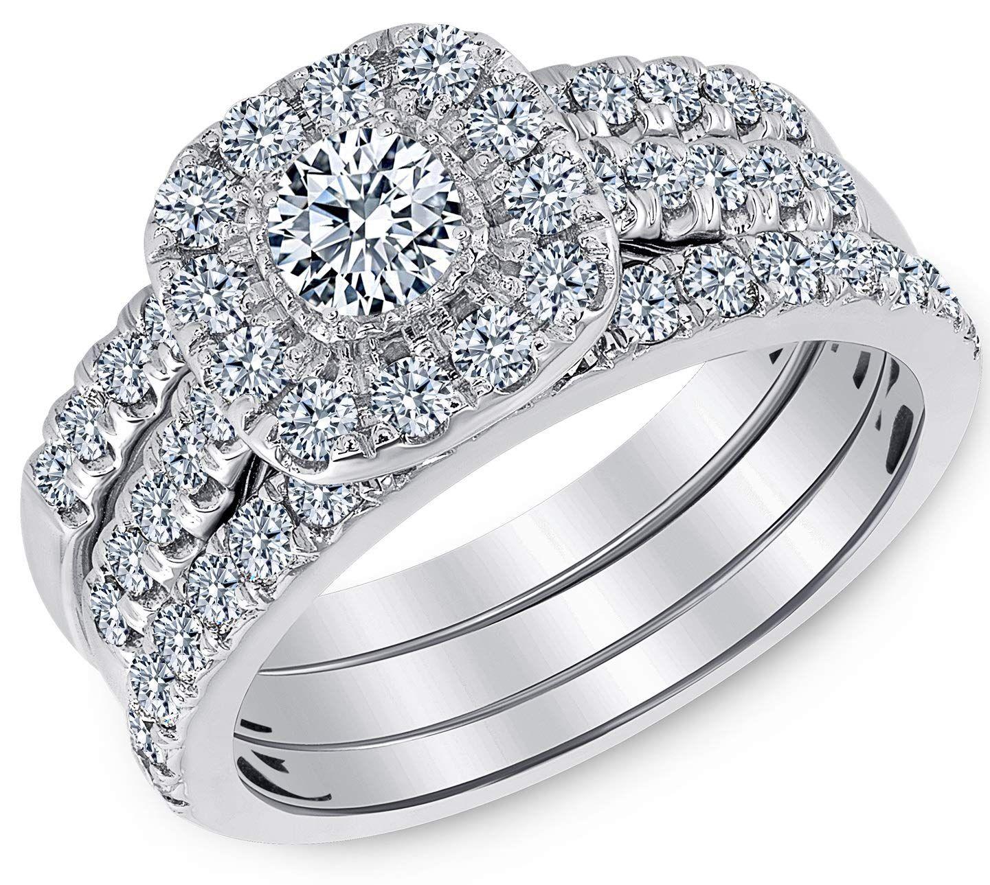 1 00 Carat Total Weight Igi Certified Diamond Engagement Ring In 14 Karat White Gold Sizable Diamond Engagement Rings 1 Carat Engagement Rings Jewelry Rings Diamond