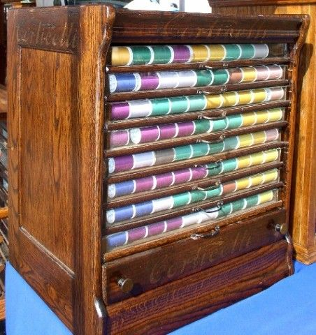 Corticelli Spool Cabinet With Glass Front Drawers, BRASS LANTERN ANTIQUES