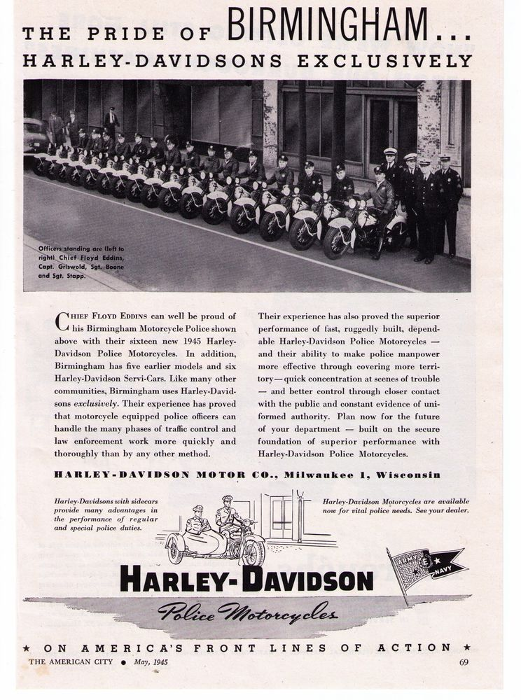 1945 vintage harley davidson 'birmingham, alabama' police