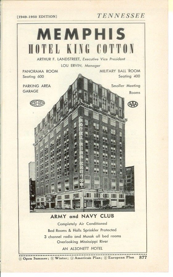 Memphis 1950s Google Search Hotel Advertisement Hotel King