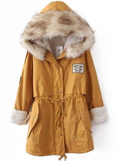 Yellow fur hooded zipper embellished fleece inside military coat shein sheinside s t y l e - Shein damenmode ...