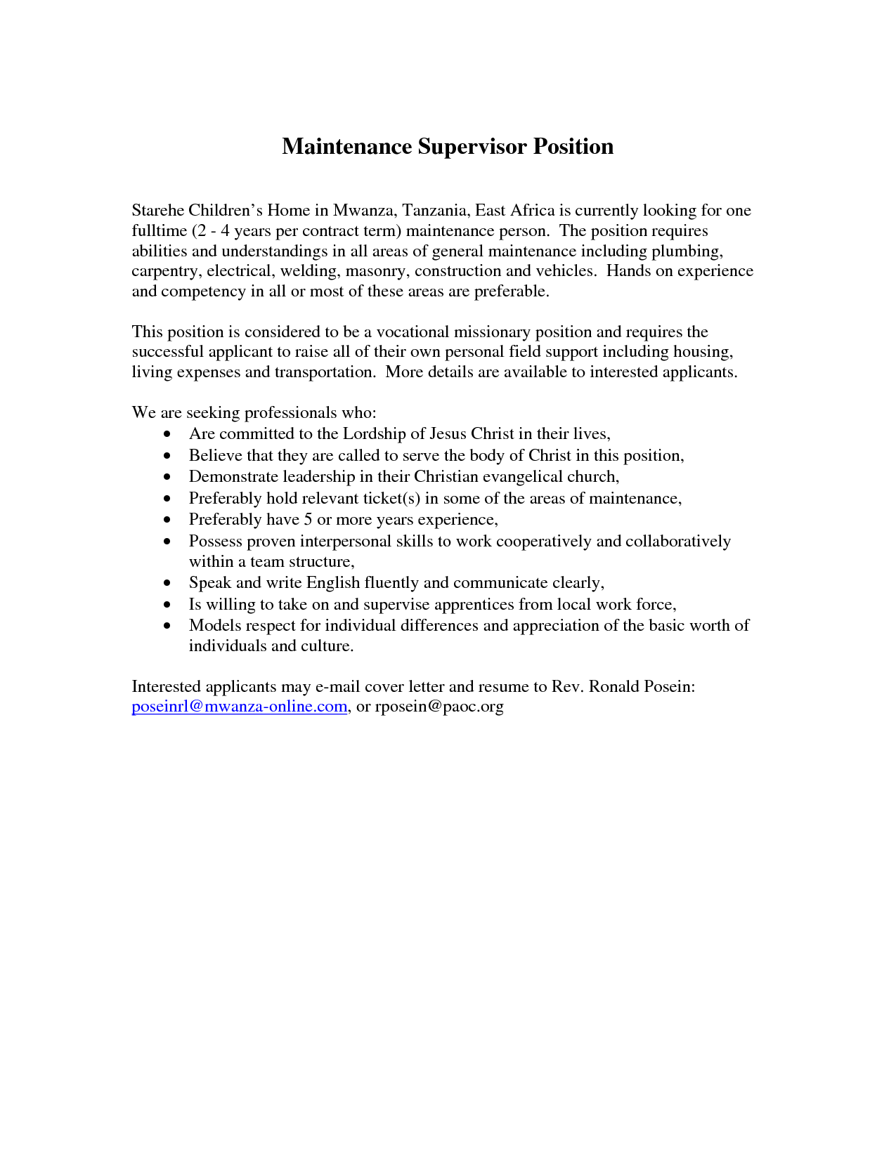 Cover Letter For Supervisor Resume Housekeeping Position Email