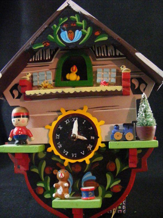 Vintage Enesco Christmas Cuckoo Clock Music By