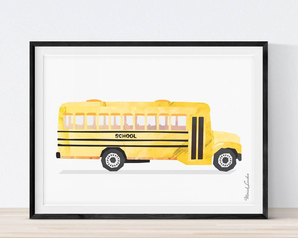 Bus Print, School Bus Print, Vehicle Art Print, Cars Wall Art ...