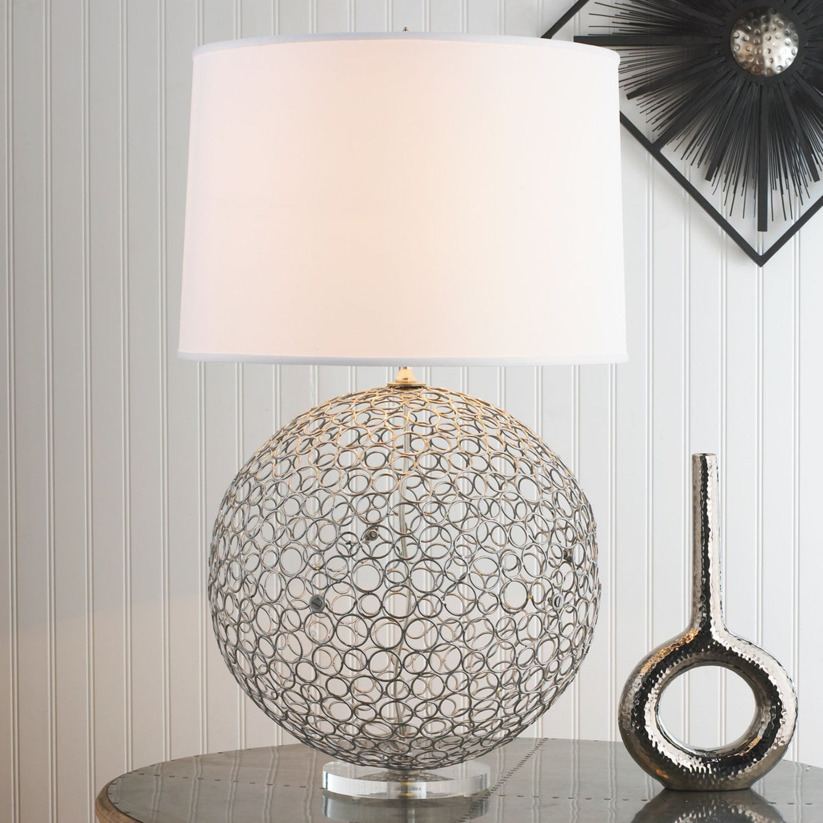 Silver Ringlet Table Lamp Table Lamp Design Lamp Unique Table Lamps