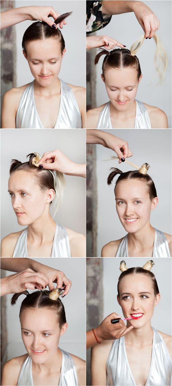 How To Make Two Buns Hair Style With Blonde Clip In Extensions