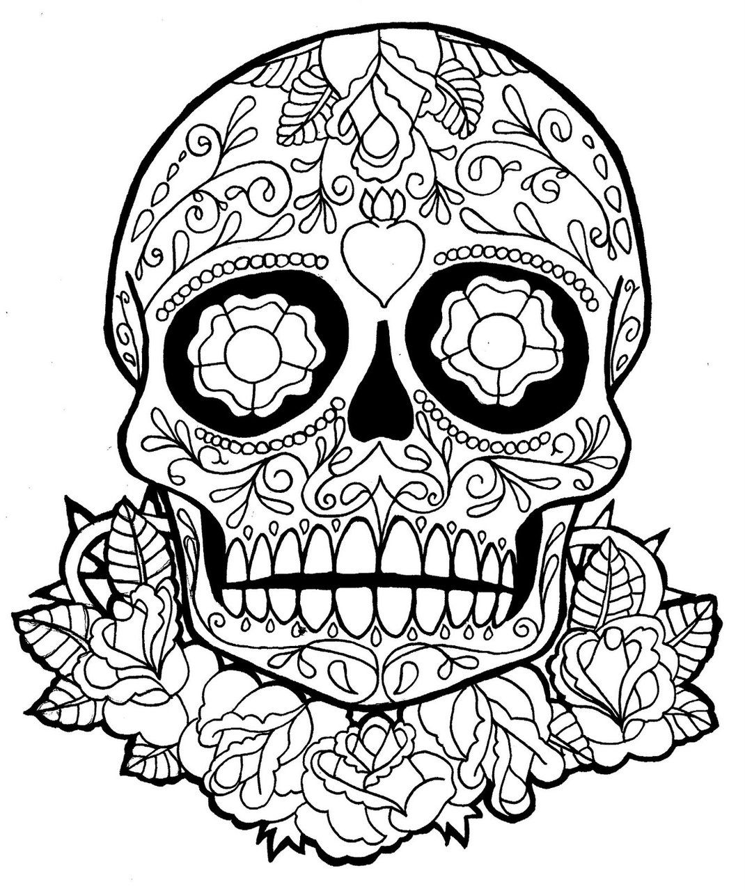 Skull Coloring Pages for Teen | Sugar Skull Dia De Los Muertos ...