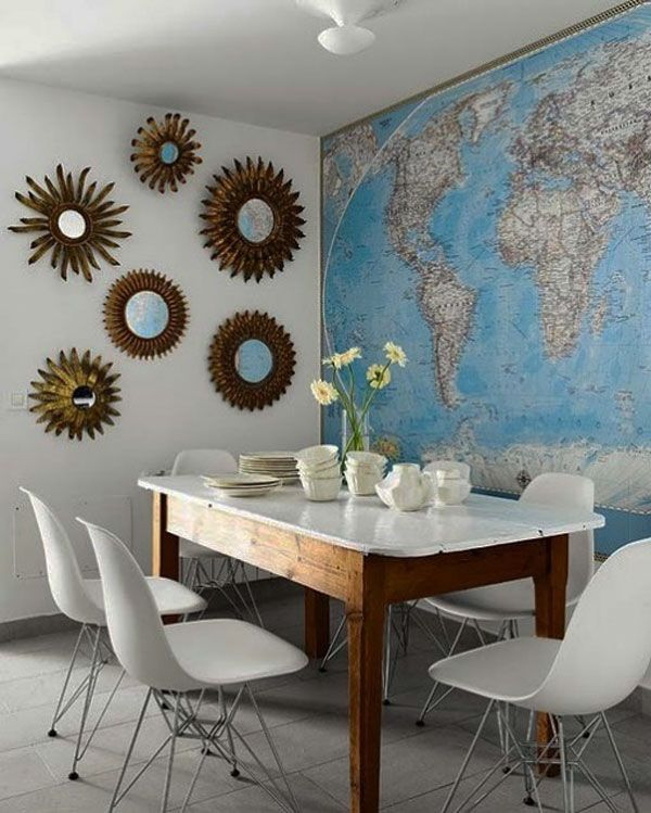 30 ideas for incorporating maps in your decor world map wall 30 ideas for incorporating maps in your decor world map wall sticker dining area home and entertaining pinterest room apartments and walls gumiabroncs Images