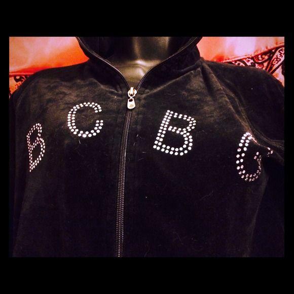 BCBGMax Azria. Sweatshirt. Black. BCBG. Verlour (like) material. Black. Zip up. 2 side zippers pockets. Not a hoodies. Gorgeous! BCBGMaxAzria Sweaters