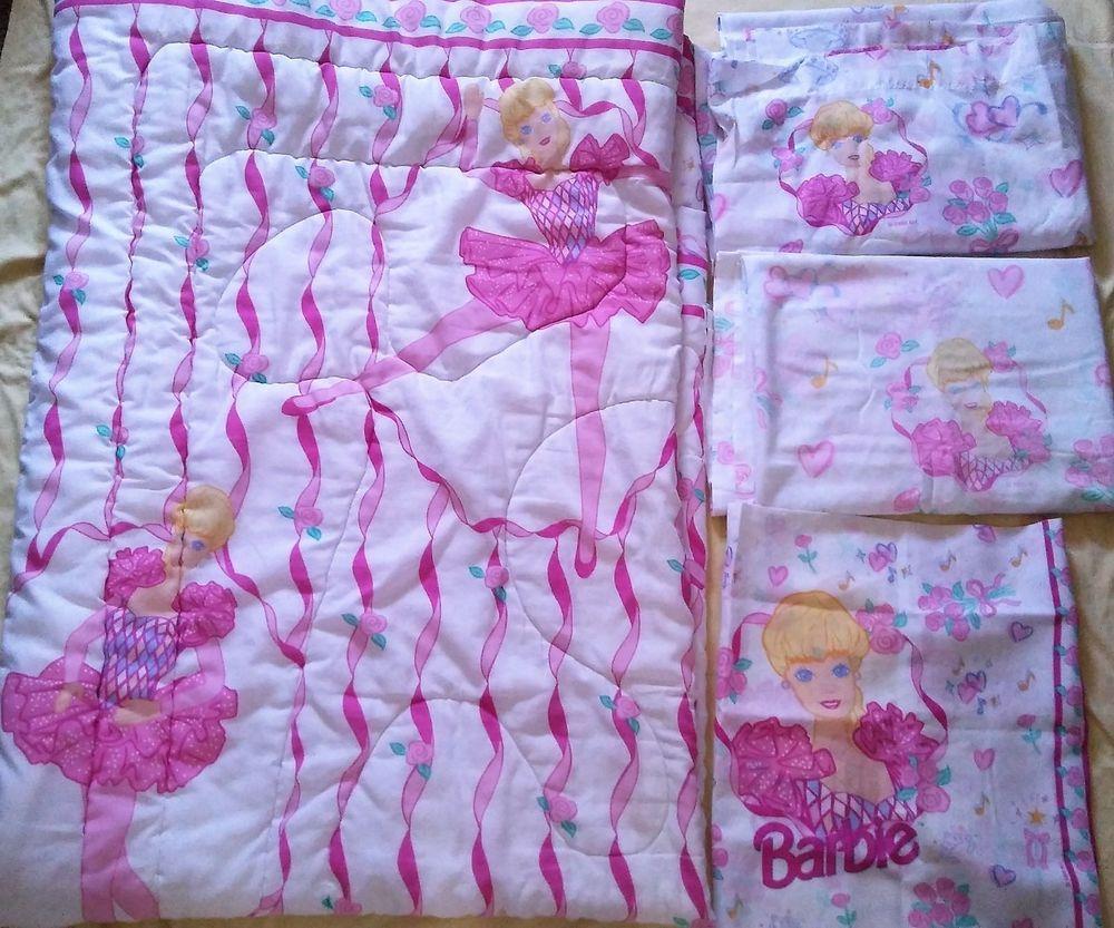 Vintage 1995 Barbie Ballerina Comforter Blanket Twin Flat Sheet