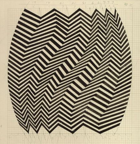 Credit: Walker Art Gallery/Bridget Riley's own collection Study for Shuttle (1964)