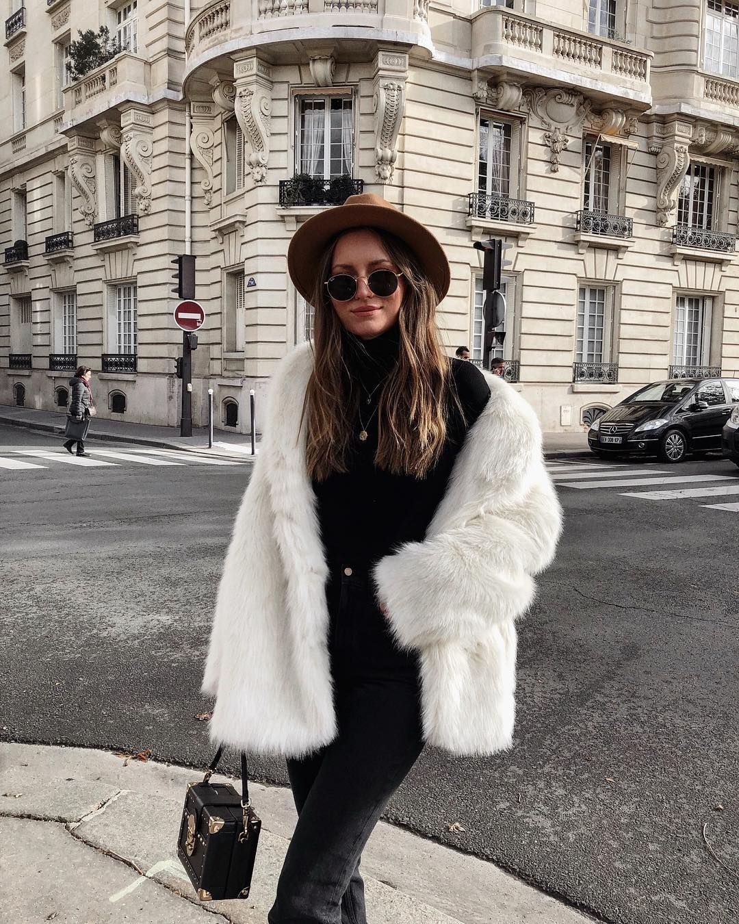 Cutest White Faux Fur Jacket Over All Black Casual Outfit Fur Jacket Outfit Coat Outfit Casual Fluffy Coat Outfit [ 1350 x 1080 Pixel ]