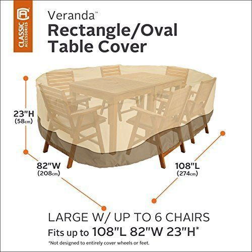 Details About Outdoor Patio Furniture Cover Rectangular Oval Water  Resistant Table Chairs Set