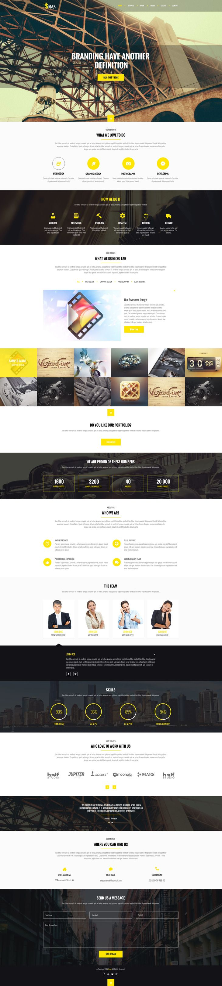 Smak – PSD One Page Web Template – Web-Templates | Clean design ...
