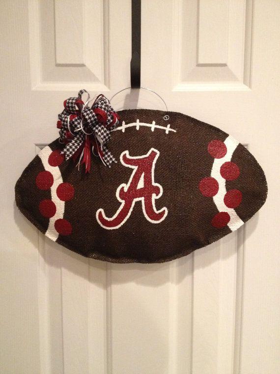 Alabama Football Burlap Door Hanger by ILoveItDesigns on Etsy