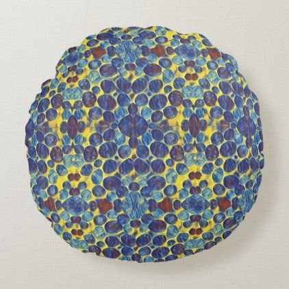 Blue Spots Round Pillow