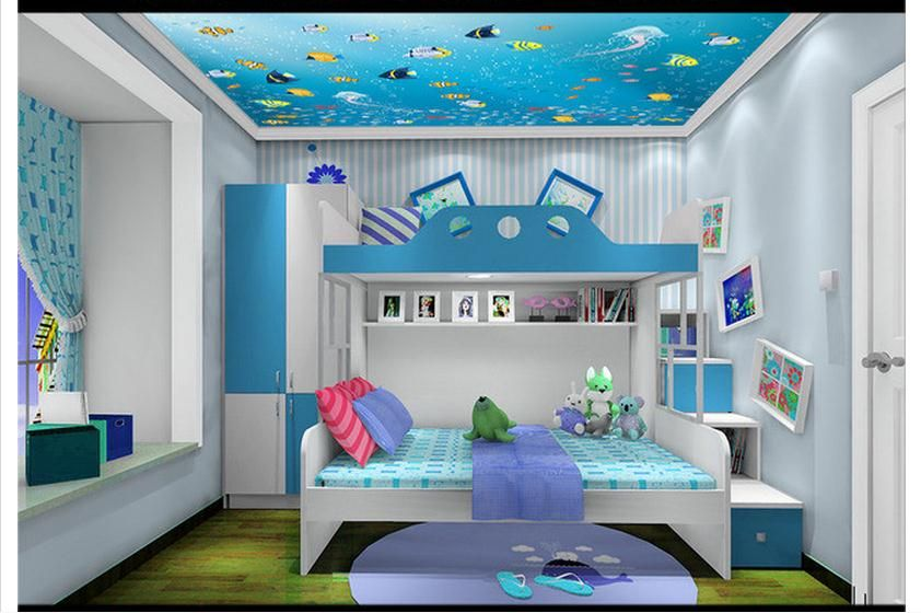Customized 3d Wallpaper 3d Ceiling Wallpaper Marine Fish Vector Children Room Ceiling Fresc Self Adhesive Wallpaper Traditional Wallpaper Kids Room Inspiration