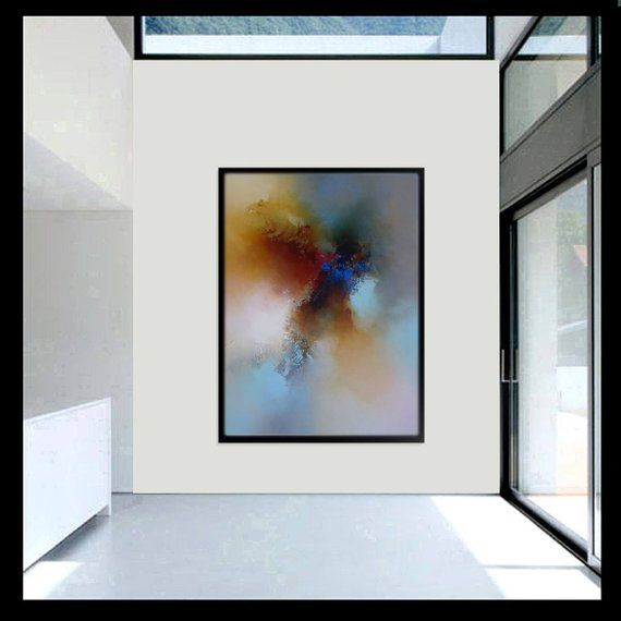 Large Abstract Colour Burst Painting By Artist Simon Kenny A