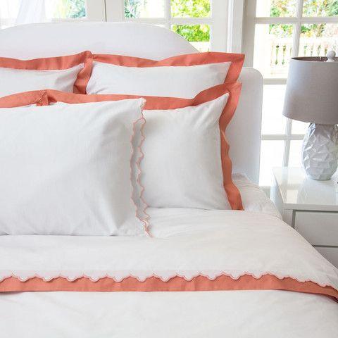 The Linden Coral Border White Bed Set Coral Bedding Bedroom Inspirations