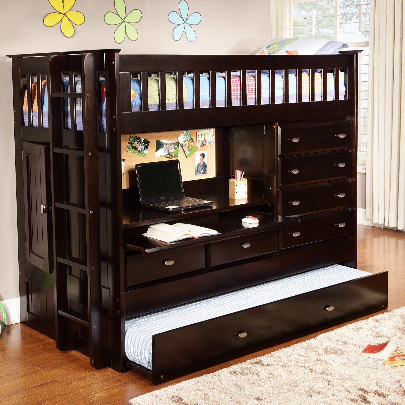 Kids Loft Bed With Desk and Storage