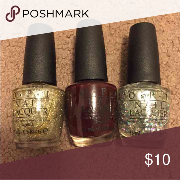 OPI nail polish Colors include: my favorite ornament, visions of love, snow you love me. Each bottle is 0.5 Oz. Has only been used to try on the colors! Makeup