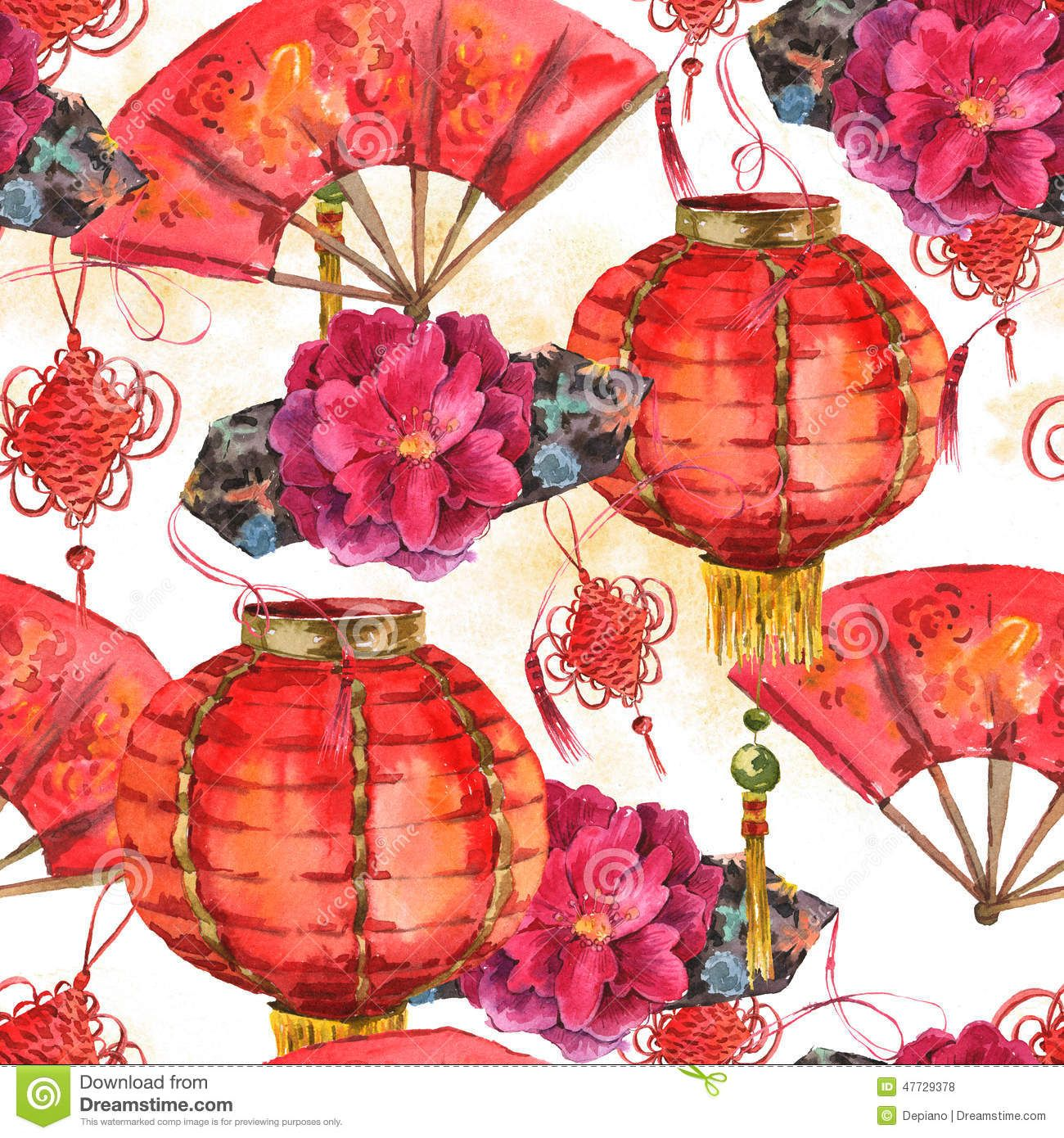 Seamless Watercolor Chinese New Year Background Stock Illustration