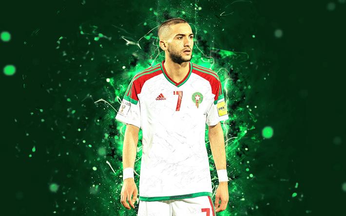 Download Wallpapers 4k Hakim Ziyech Abstract Art Morocco National Team Fan Art Ziyech Soccer Footballers Neon Lights Moroccan Football Team Besthqwallp Football Team Hakim Ziyech Sports Wallpapers