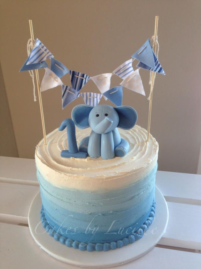 Boys Blue Ombre First Birthday Fake Smash by FakeCupcakeCreations
