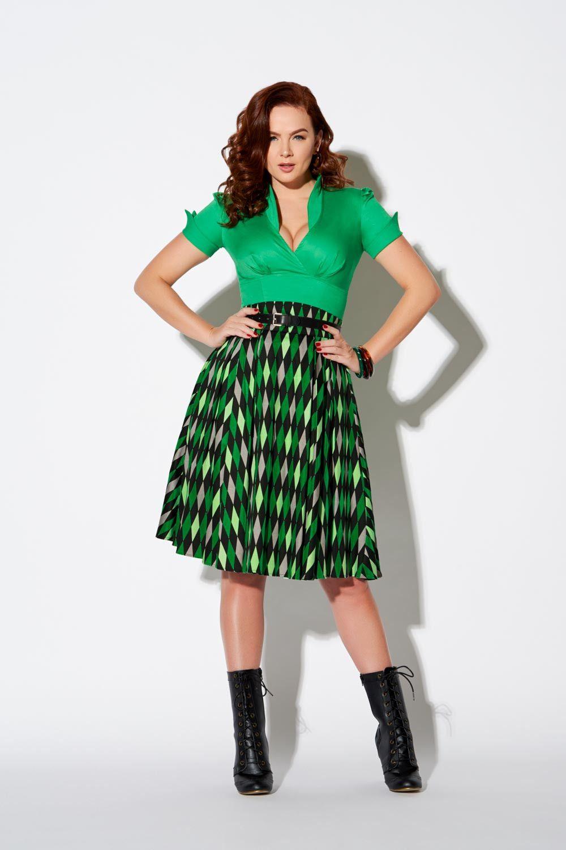 Laura Byrnes California Long Jun Skirt in Green House Harlequin ... e5276cff7f