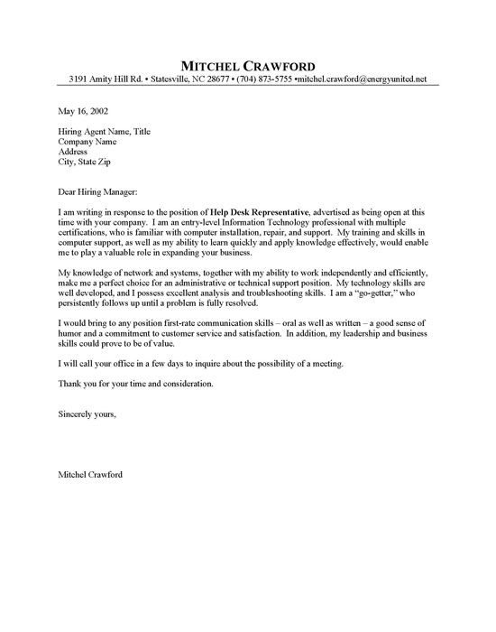 Entry Level Helpdesk Cover Letter Sample resumes Pinterest