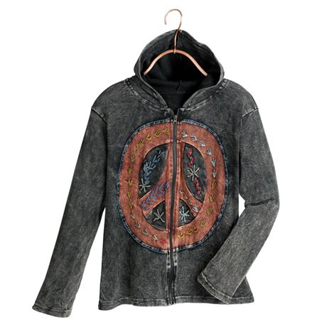 A hand-pieced, hand-embroidered peace sign adorns the front of a casual hoodie, vintage-washed to look and feel like an old friend. The pieces are accented with decorative hand-stitching.