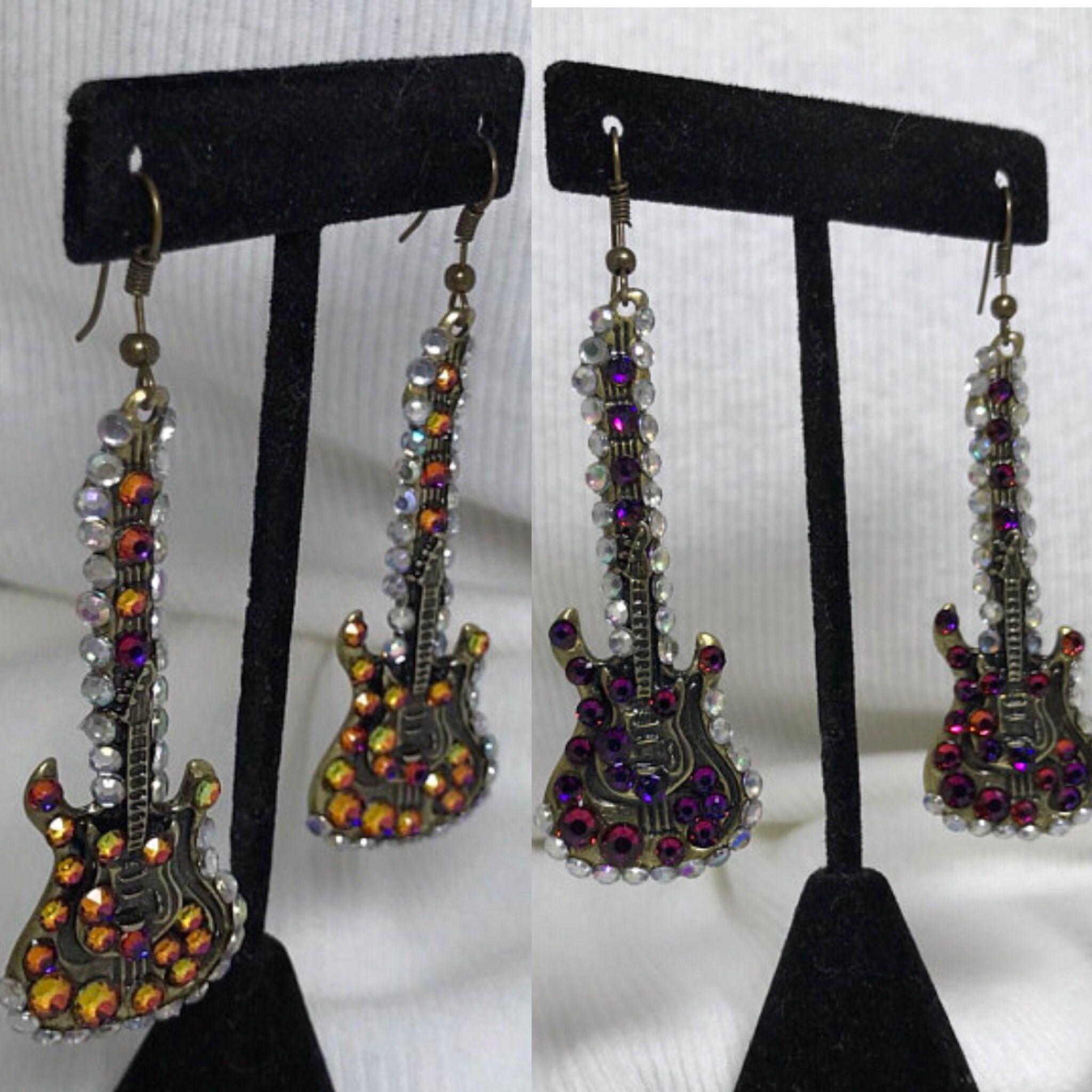 9441ed84b4f Gold tone dangle earrings with gold tone rhinestone embellished ...