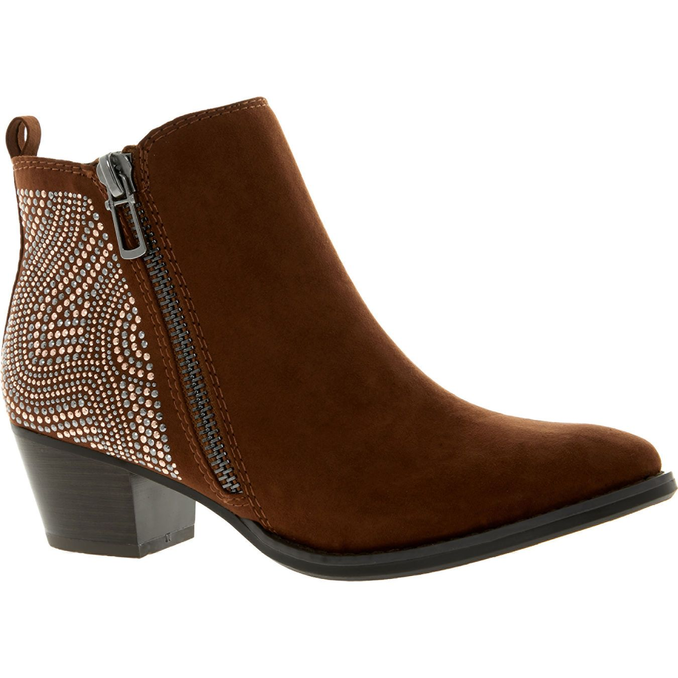 ba2dadb65170b6 Brown Diamante Ankle Boots - Ankle Boots - Boots - Shoes - Women - TK Maxx