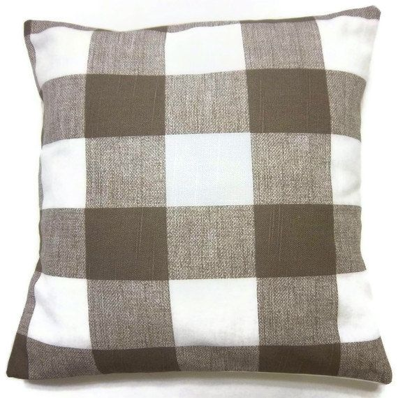 Two Brown White Plaid Pillow Covers Handmade Decorative