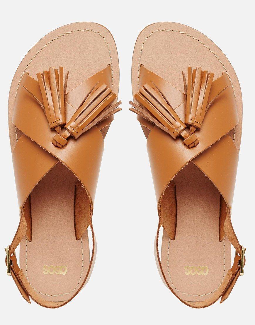 Foxtrot Leather Tassel Sandals Shoe Shine Leather