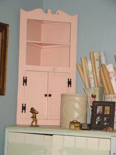 Vintage Corner Cabinet Display Shelves Shabby Chic Pink Paint Old Children Furniture Handmade 1930s 115 00 Via Etsy