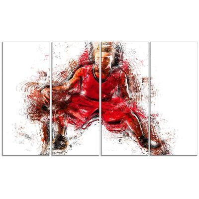 DesignArt Basketball Dribble 4 Piece Graphic Art on Wrapped Canvas Set