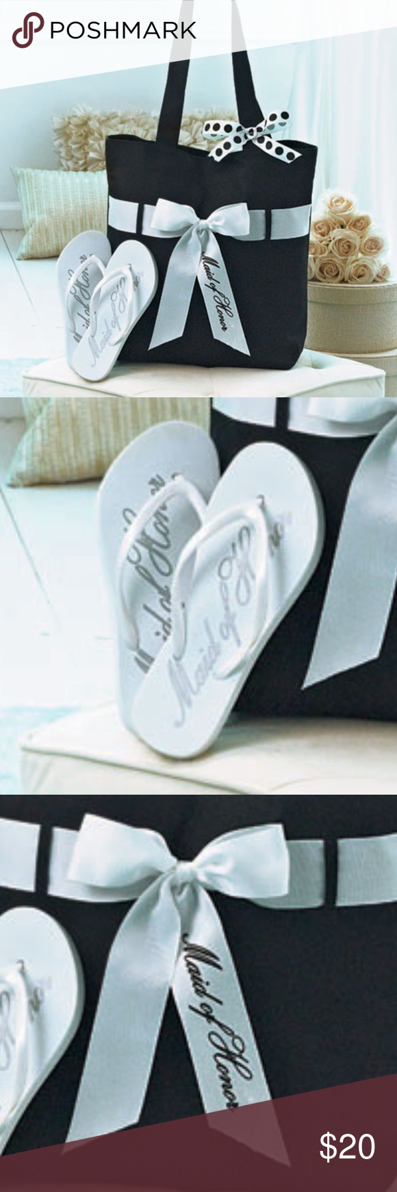 Wedding Tote And Flip Flop Set Made Of Honor Only