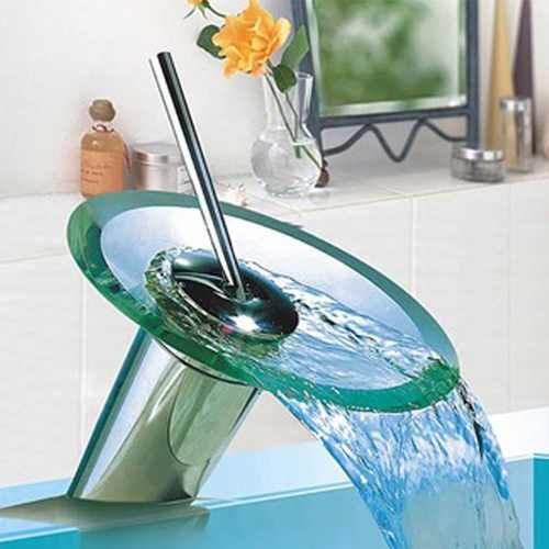 Griferia cascada monocomando redonda vidrio templado for Griferia monocomando para bano