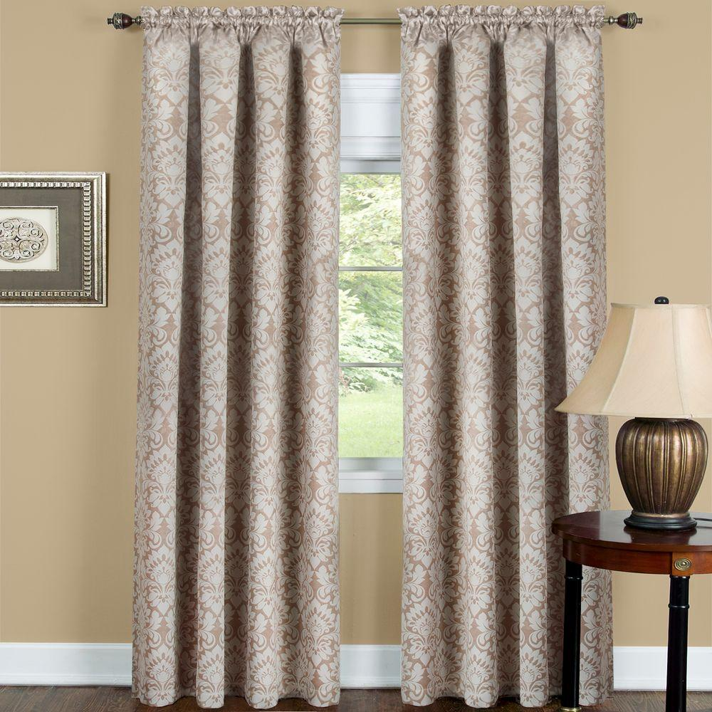 Achim Blackout Sutton Tan Polyester Blackout Curtain Panel 52 In W X 63 In L Panel Curtains Curtains Drapes Curtains