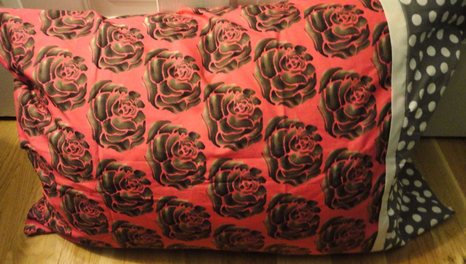 Rose and Polka Dot Pillow Case- Pink and Gray by TheTurquoiseIsland on Etsy