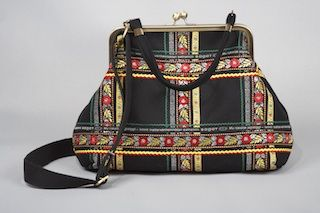 Pirita handbag - wool with ribbons sewn on, in Sami style