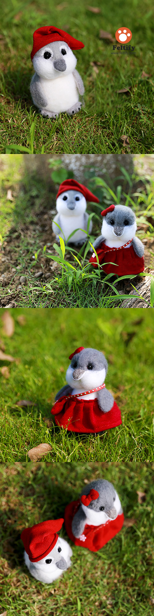 Handmade Needle felted felting christmas ornament penguins couples bird felted doll