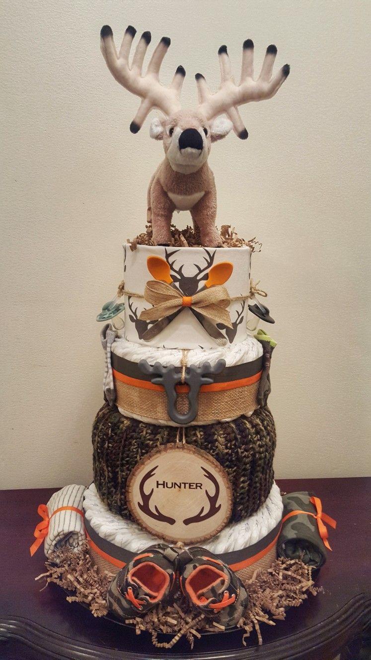 Camo Deer Themed Diaper Cake Hunter Baby Shower Check