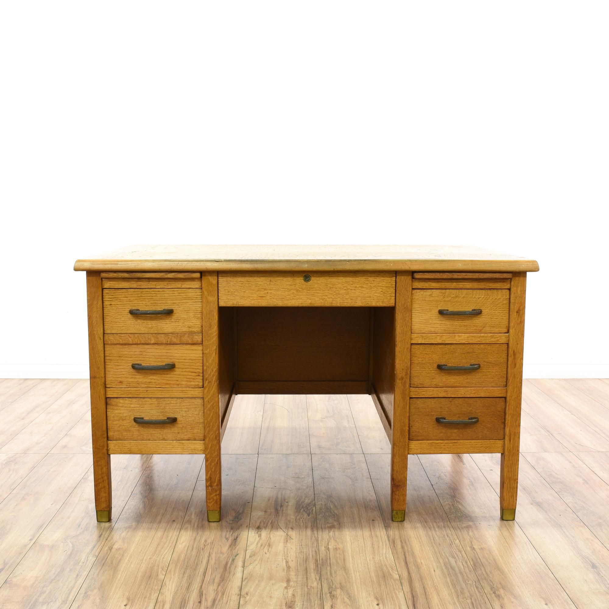 This Large Vintage School Teacher Desk Is Featured In A Solid Wood With A Light Oak Finish This Tanker Desk Has 6 Draw Desk Vintage Furniture Furniture Design