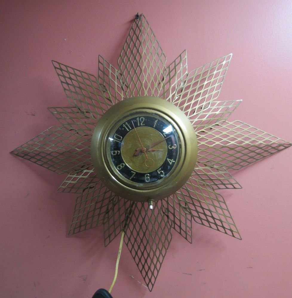 Vintage mid century starburstsunburst atomic wall clock back vintage mid century starburstsunburst atomic wall clock back light eames era mastercraft amipublicfo Images