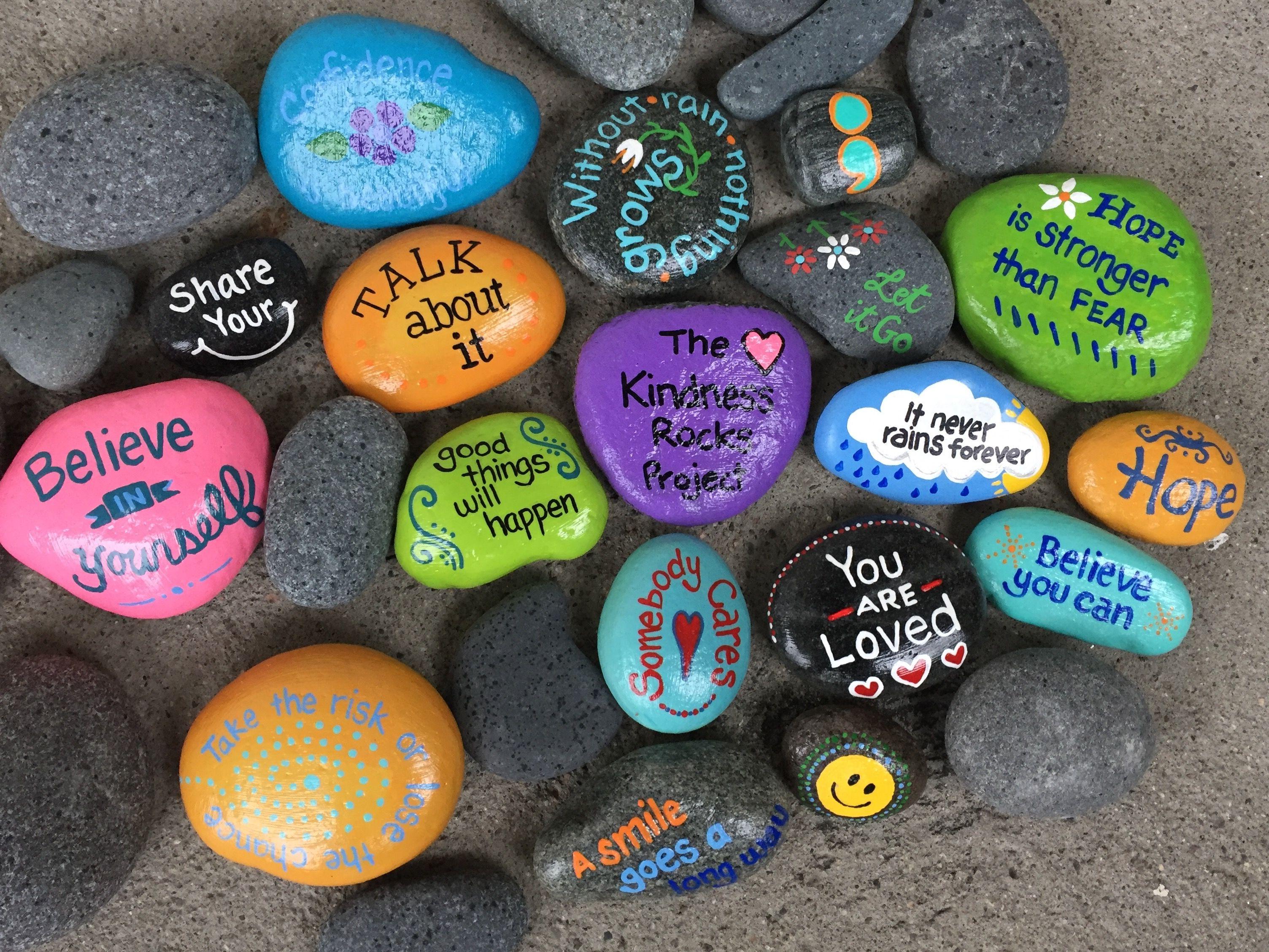 Kindness Rocks Inspirational Rock Painting Ideas For Kids Simple And Creative Painted Rock Dubai Khalifa