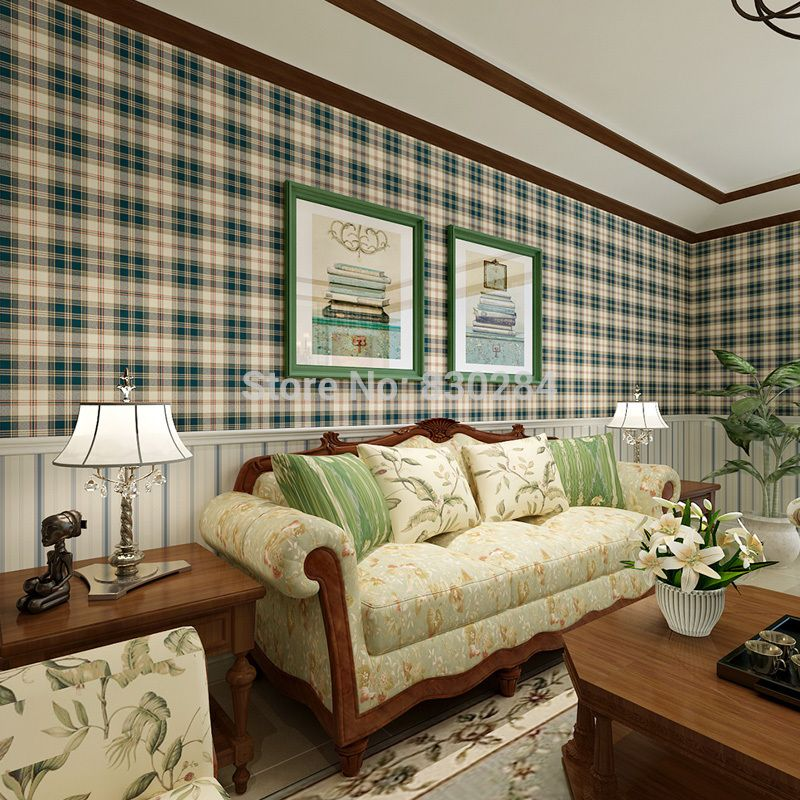 barato de estilo escoc s xadrez grade de parede do vintage papel de parede para sala papel de. Black Bedroom Furniture Sets. Home Design Ideas