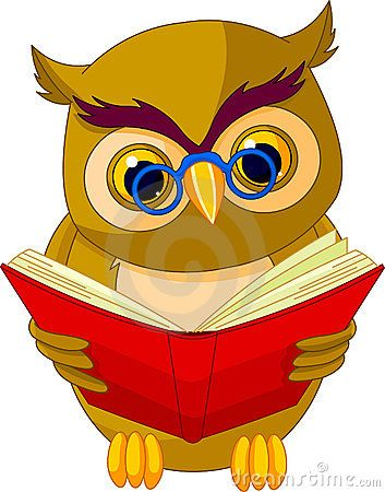 Wise Old Owl Reading A Book Royalty Free Clipart Image