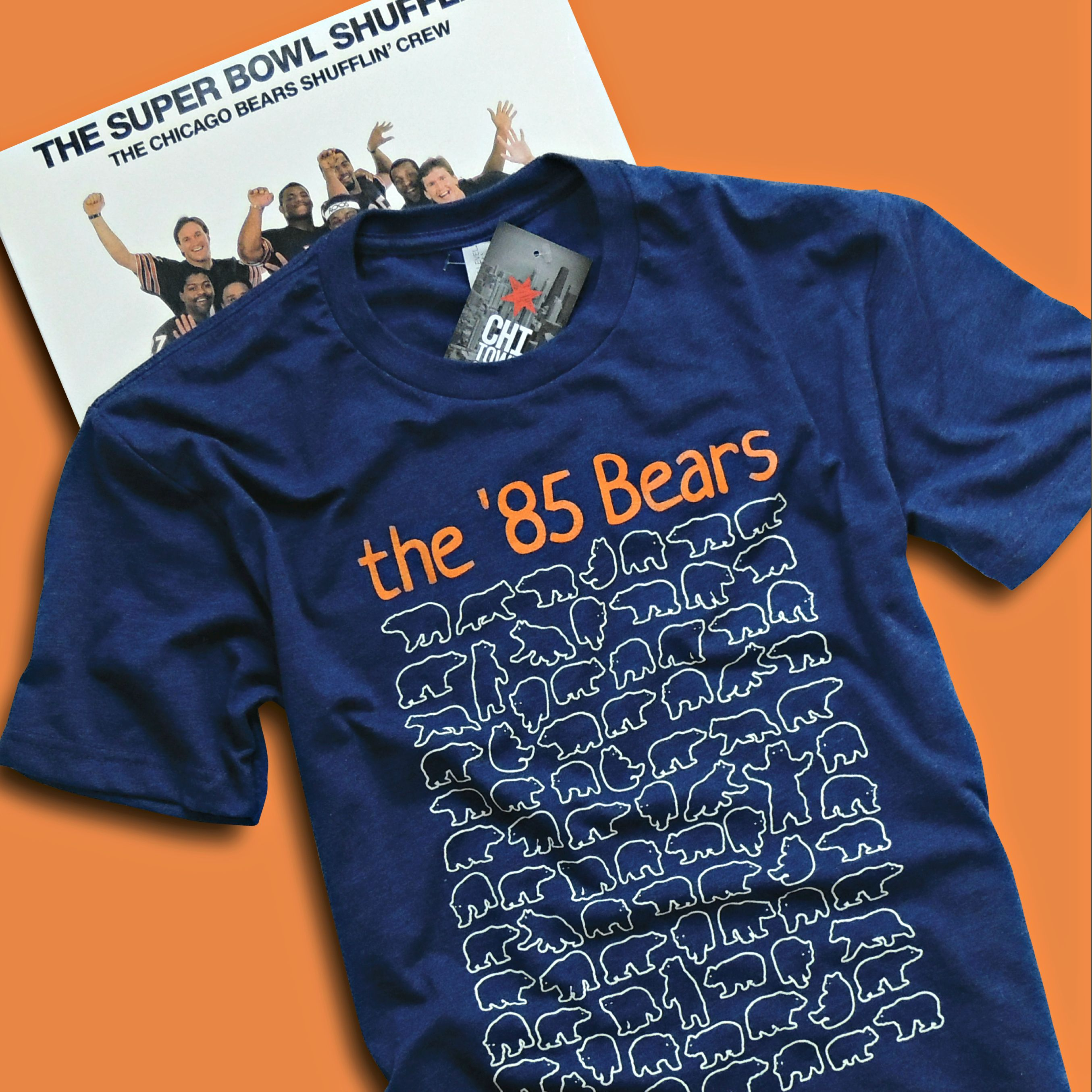 new concept 4cf1f 6fe92 Creatively designed Chicago t-shirt celebrating the Chicago Bears  season  in 1985.